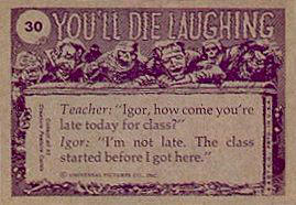 You'll Die Laughing card back.