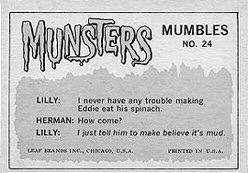 The Munsters trading cards back.