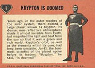 Superman trading cards. Card back 2.